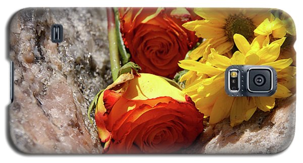 Orange And Yellow On Pink Granite Galaxy S5 Case