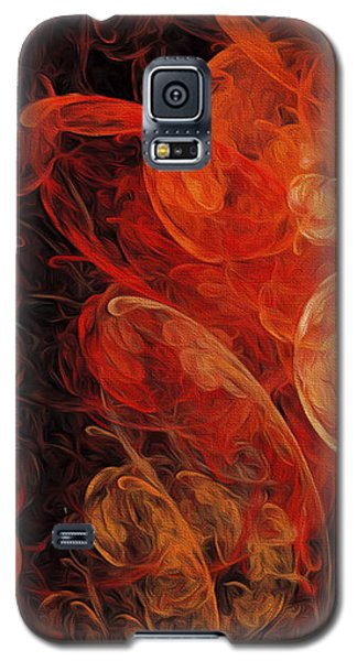 Galaxy S5 Case featuring the digital art Orange Blossom Abstract by Andee Design