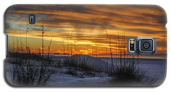 Orange Clouded Sunrise Over The Pier Galaxy S5 Case by Michael Thomas