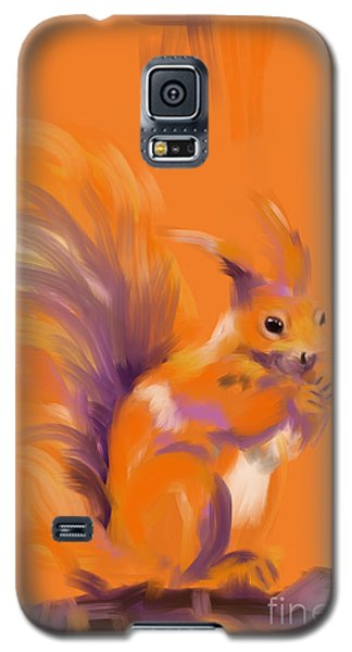 Galaxy S5 Case featuring the painting Orange Forest Squirrel by Go Van Kampen