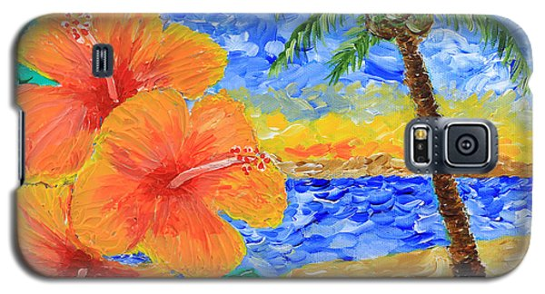 Orange Hibiscus Coconut Tree Sunrise Tropical Beach Painting Galaxy S5 Case