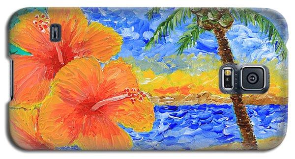 Orange Hibiscus Coconut Tree Sunrise Tropical Beach Painting Galaxy S5 Case