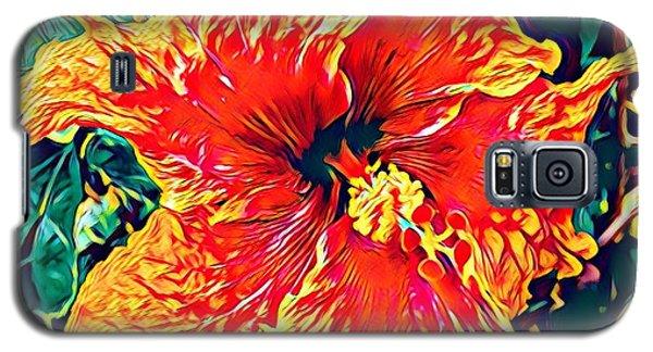 Orange Hibiscus In Crepe - Full View Galaxy S5 Case