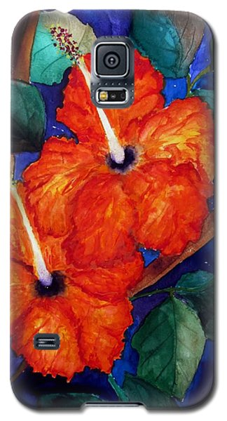 Orange Hibiscus Galaxy S5 Case by Lil Taylor