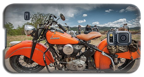Galaxy S5 Case featuring the photograph Orange Indian Motorcycle by Britt Runyon