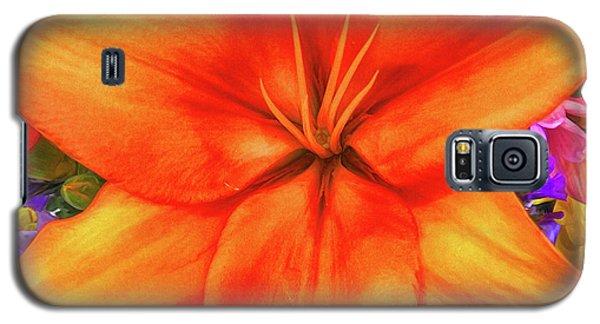 Galaxy S5 Case featuring the painting Orange Lilly Art by Deborah Benoit