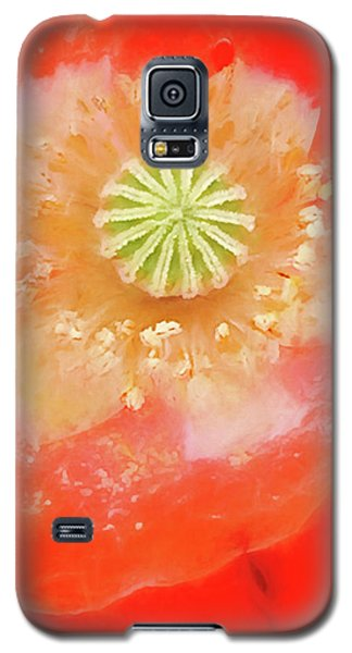 Galaxy S5 Case featuring the photograph Orange Oriental Poppy Painterly by Carol Leigh