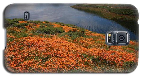 Orange Poppy Fields At Diamond Lake In California Galaxy S5 Case by Jetson Nguyen