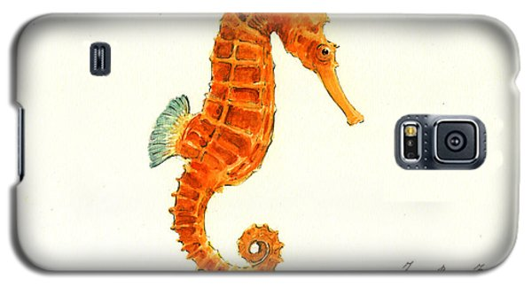 Orange Seahorse Galaxy S5 Case by Juan Bosco