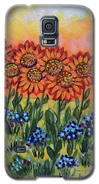 Orange Sunset Flowers Galaxy S5 Case