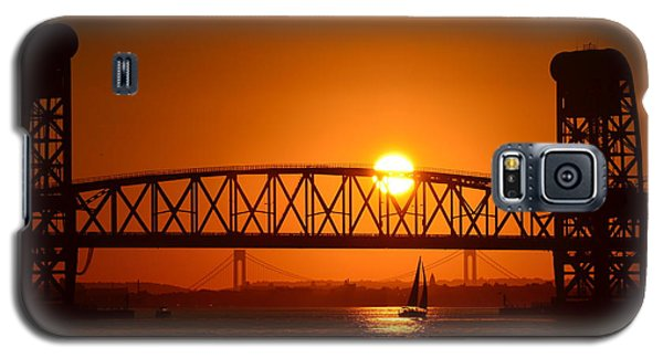 Orange Sunset Brooklyn Bridges Sailboat Galaxy S5 Case