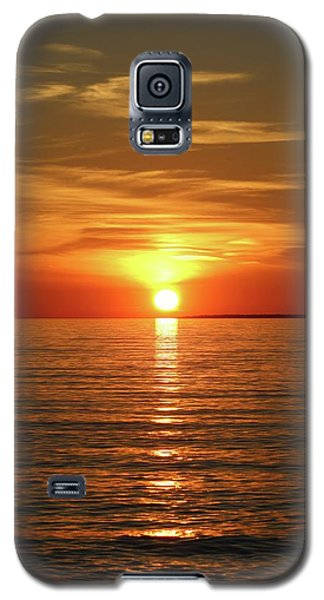 Galaxy S5 Case featuring the photograph Orange Sunset Lake Superior by Paula Brown