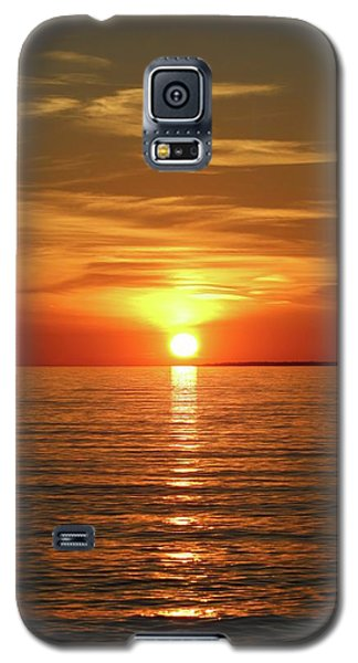 Orange Sunset Lake Superior Galaxy S5 Case by Paula Brown