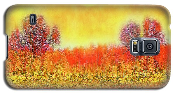Galaxy S5 Case featuring the digital art Orange Sunset Shimmer - Field In Boulder County Colorado by Joel Bruce Wallach