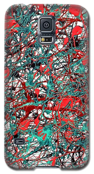 Galaxy S5 Case featuring the painting Orange Turquoise Drip Abstract by Genevieve Esson
