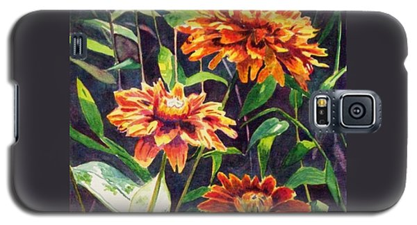Galaxy S5 Case featuring the painting Orange Zinnias by LeAnne Sowa