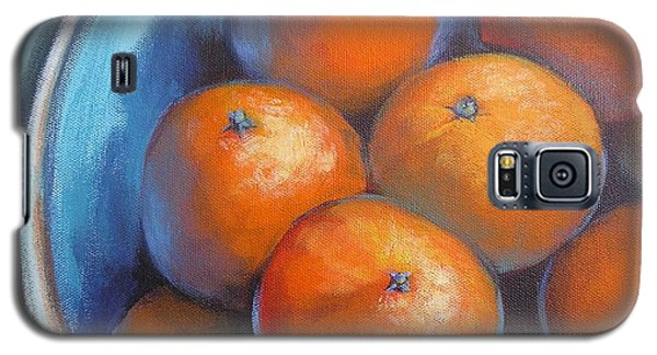 Galaxy S5 Case featuring the painting Oranges On Blue Acrylic Original Painting by Chris Hobel