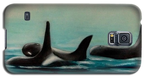 Galaxy S5 Case featuring the painting Orca's by Annemeet Hasidi- van der Leij