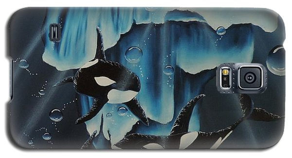 Galaxy S5 Case featuring the painting Orcas Versus Glacier by Dianna Lewis