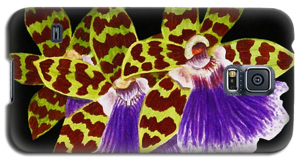 Orchids - Jumping Jacks With Black Background Galaxy S5 Case by Kerri Ligatich