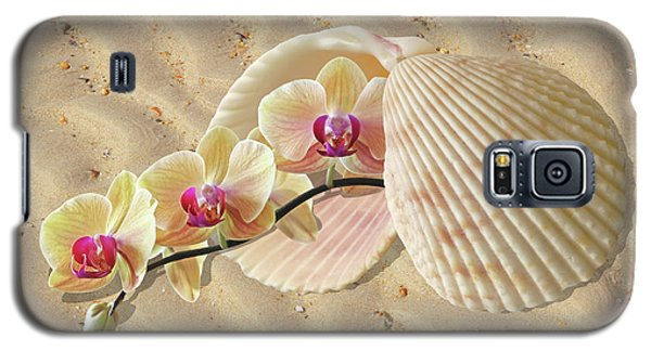Orchids And Shells On The Beach Galaxy S5 Case by Gill Billington