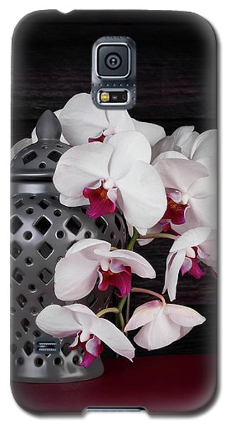 Orchid Galaxy S5 Case - Orchids With Gray Ginger Jar by Tom Mc Nemar
