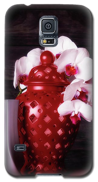 Orchid Galaxy S5 Case - Orchids With Red And Gray by Tom Mc Nemar