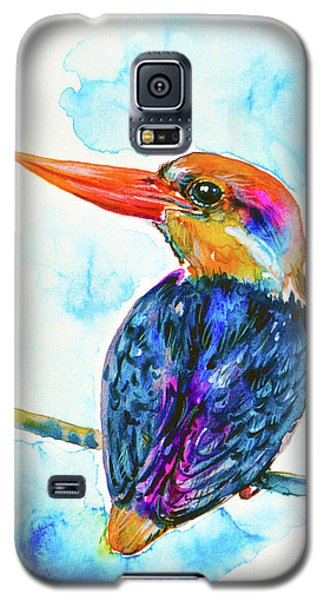 Galaxy S5 Case featuring the painting Oriental Dwarf Kingfisher by Zaira Dzhaubaeva