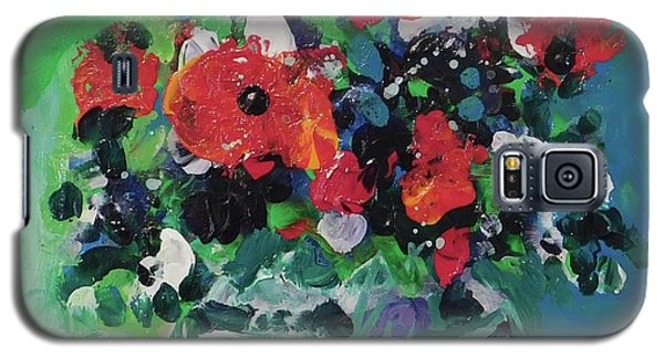 Galaxy S5 Case featuring the painting Original Bouquetaday Floral Painting By Elaine Elliott, Blues And Greens, 12x12, 59.00 Incl. Shippin by Elaine Elliott