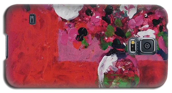 Galaxy S5 Case featuring the painting Original Floral Painting By Elaine Elliott, 12x12 Acrylic And Collage, 59.00 Incl. Shipping, Contemp by Elaine Elliott