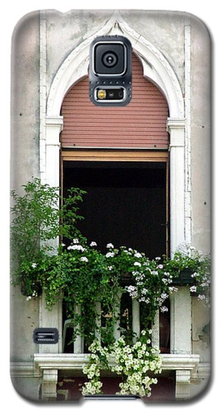 Galaxy S5 Case featuring the photograph Ornate Window With Red Shutters by Donna Corless