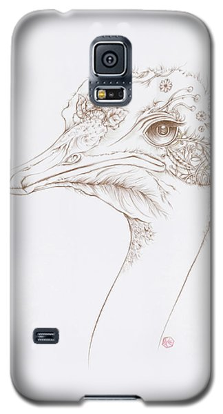 Galaxy S5 Case featuring the drawing Ostrich by Karen Robey