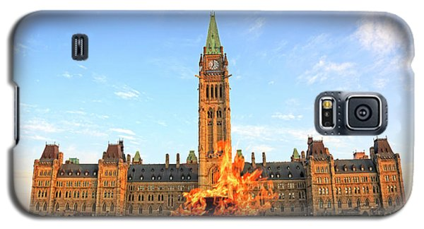 Galaxy S5 Case featuring the photograph Ottawa Parliament Hill With Centennial Flame by Charline Xia