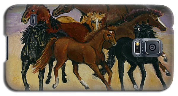 Galaxy S5 Case featuring the painting Our Horses by Dawn Senior-Trask