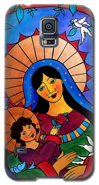 Galaxy S5 Case featuring the painting Our Lady Of The Garden by Jan Oliver-Schultz