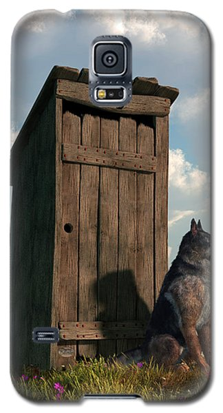 Outhouse Guardian - German Shepherd Version Galaxy S5 Case by Daniel Eskridge