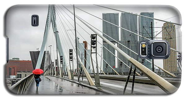 Galaxy S5 Case featuring the photograph Over The Erasmus Bridge In Rotterdam With Red Umbrella by RicardMN Photography