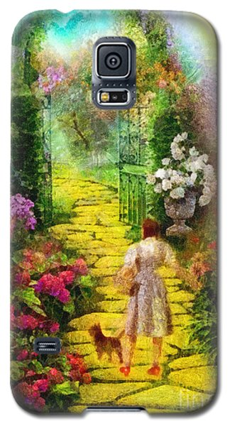 Galaxy S5 Case featuring the painting Over The Rainbow by Mo T