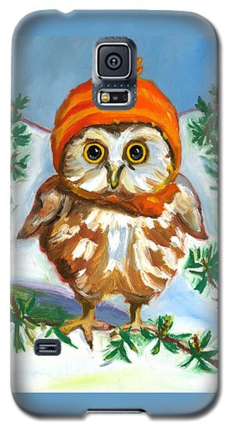Galaxy S5 Case featuring the painting Owl In Orange Hat by Susan Thomas