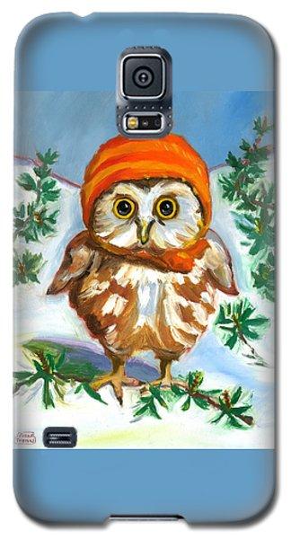 Owl In Orange Hat Galaxy S5 Case by Susan Thomas