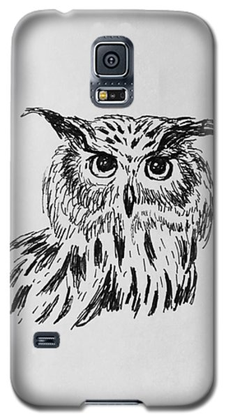 Galaxy S5 Case featuring the drawing Owl Study 2 by Victoria Lakes