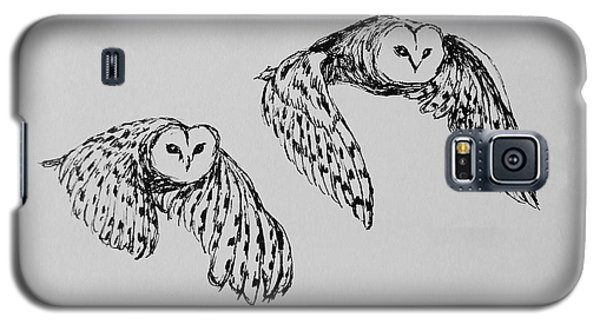 Galaxy S5 Case featuring the drawing Owls In Flight by Victoria Lakes