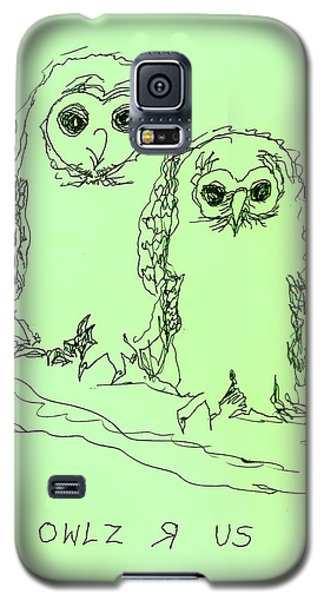 Galaxy S5 Case featuring the drawing Owlz R Us by Denise Fulmer