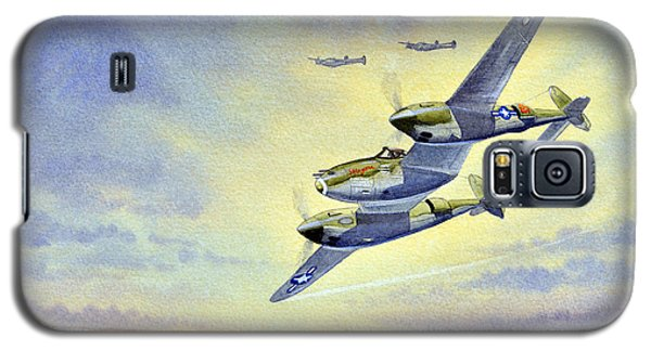 Galaxy S5 Case featuring the painting P-38 Lightning Aircraft by Bill Holkham