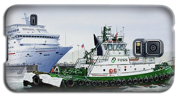 Galaxy S5 Case featuring the painting Pacific Escort Cruise Ship Assist by James Williamson