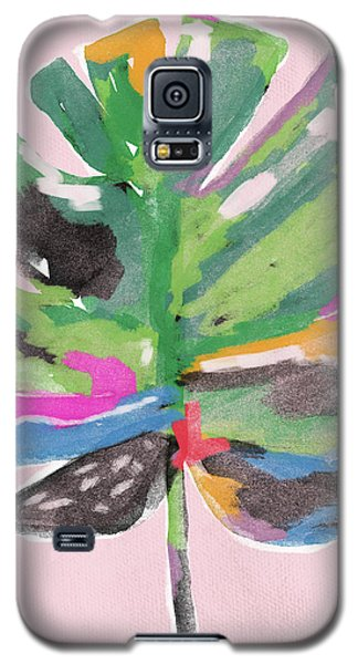 Galaxy S5 Case featuring the mixed media Painted Palm Leaf 2- Art By Linda Woods by Linda Woods