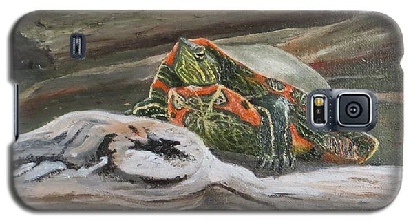Galaxy S5 Case featuring the painting Painted Turtle by Bonnie Heather