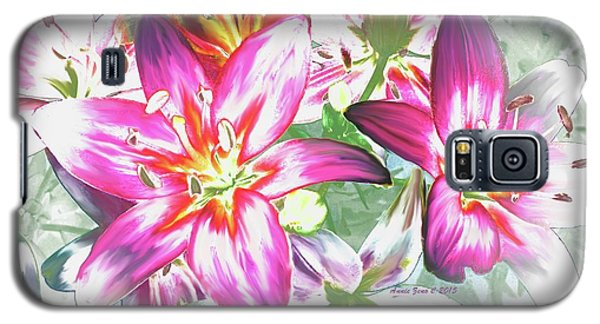 Painterly Pink Tiger Lilies Galaxy S5 Case by Annie Zeno