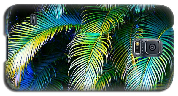 Palm Leaves In Blue Galaxy S5 Case