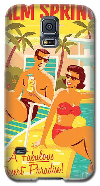 Palm Springs Retro Travel Poster Galaxy S5 Case by Jim Zahniser